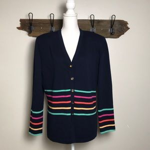 St. John Cardigan Rainbow Stripes Size 16